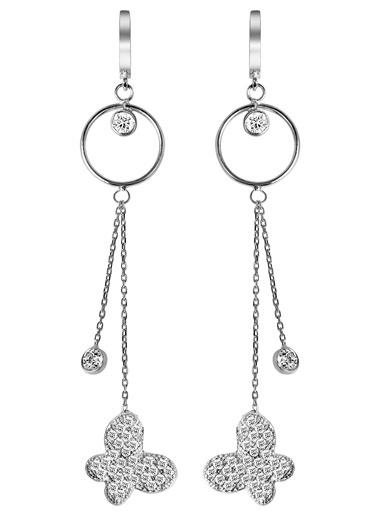 Argentum Concept  Kelebek Motifli Gümüş Sallantılı Küpe Gümüş